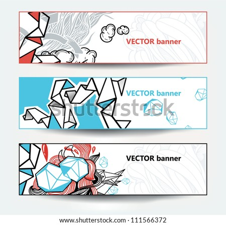 vector set of abstract banners with colorful doodles - stock vector