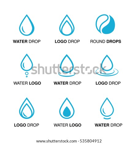 Vector set of abstract blue water logo design, line emblems of drop and drop round symbol