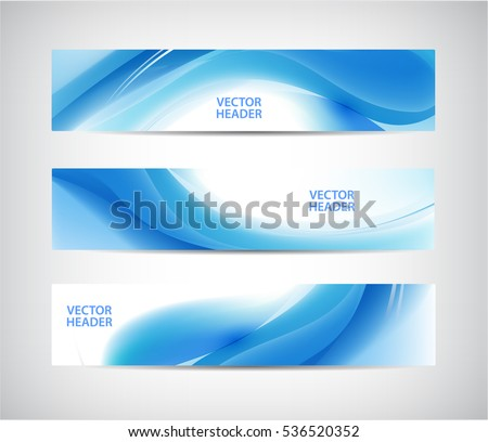 Vector set of abstract blue wavy headers, water flow banners. Use for web site, ad, brochure, flyer