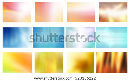 Vector Set of 12 Abstract Blurred Backgrounds, Eps 8 file, Gradient Mesh Used