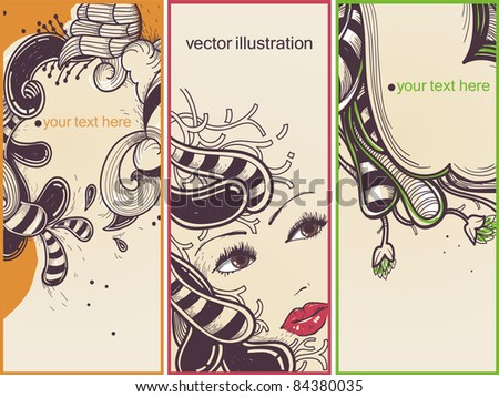 vector set of abstract cards with a pretty girl and fantasy streaky plants and flowers - stock vector