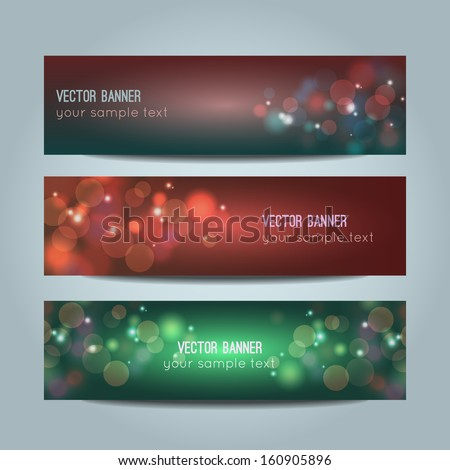 Vector set of abstract colorful bokeh banners