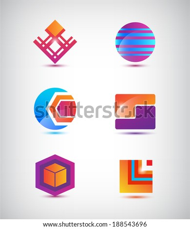 vector set of abstract colorful icons, logos isolated - stock vector