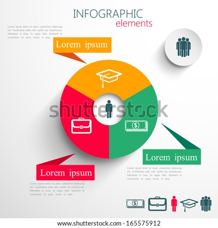 vector set of abstract 3d paper infographic elements for print or web design - stock vector