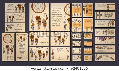 Vector set of abstract ethnic flyers with arrows, dreamcatcher, feather frames. Boho design brochure and business card templates.