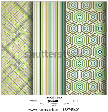 vector set of abstract geometric seamless patterns - stock vector