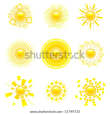 Vector set of abstract glossy sun collection. Decorative sun symbols. - stock vector
