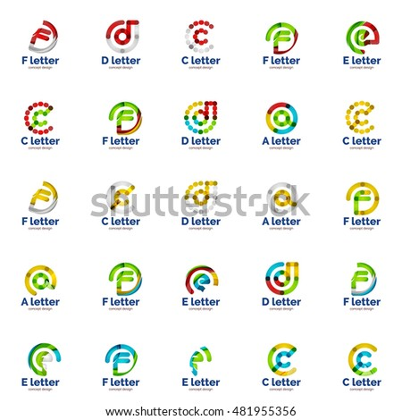 Vector set of abstract letter business logo icons, geometric wavy flowing style