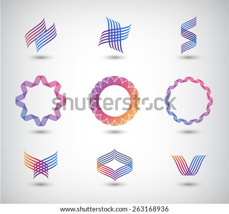 vector set of abstract line logos, icons isolated - stock vector