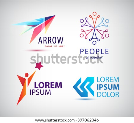Vector set of abstract logo design, arrow logo, man logo, winner logo, people group logo, team family logo. Business identity template - stock vector
