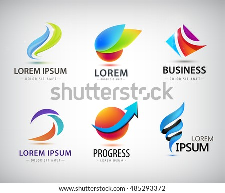 Vector set of abstract logo design, web icons. 3d templates, colorful symbols for company identity, ad, website. Geometric, sphere, origami, business logos
