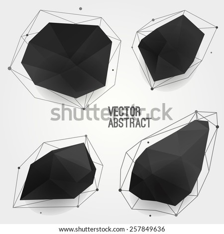 Vector set of abstract modern black crystal shapes with lines and circles. Can be used as labels, bubbles for website, infographic, banner. - stock vector