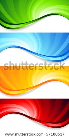 Vector set of abstract swirl banners; clip-art - stock vector