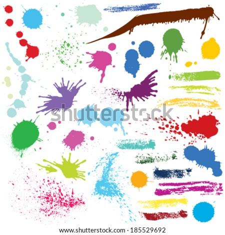 Vector set of abstract watercolor colored spots and brush strokes. - stock vector