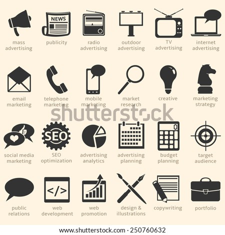 Vector Set of Advertising Icons. Types of Advertisement. - stock vector