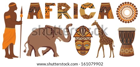 Vector set of Africa - stock vector