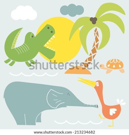 Vector Set of African animals. Cartoon funny animals. - stock vector