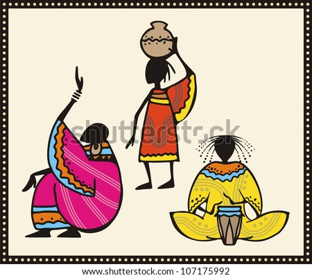 Vector set of African people in traditional clothing. - stock vector