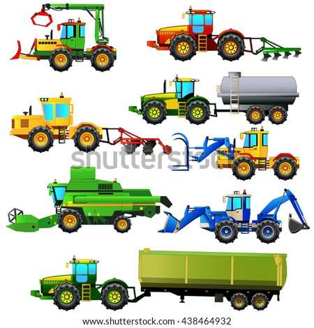 Vector set of agricultural vehicles and farm machines. Tractors, harvesters, combines. Agriculture machinery. Vector illustration. Isolated on white. Icon. Flat style