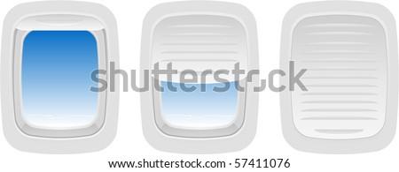 Vector Set of Aircraft Windows - stock vector