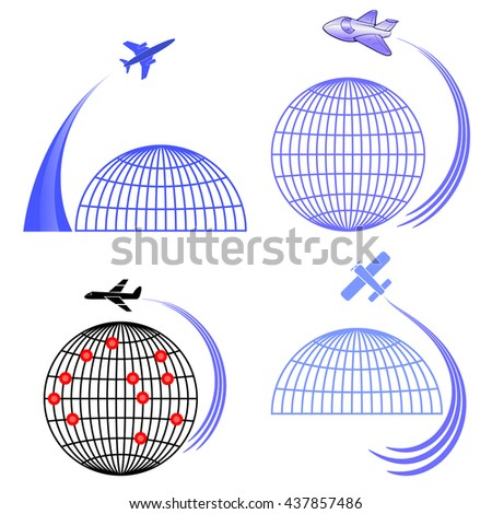 Vector Set of Airplane Icons Isolated on White Background. Around the World Travelling by Plane. Summer Vacation. - stock vector