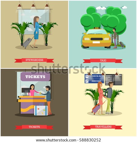 Vector set of airport concept posters, banners. Stewardess, Taxi, Tickets and Travellers design elements in flat style.