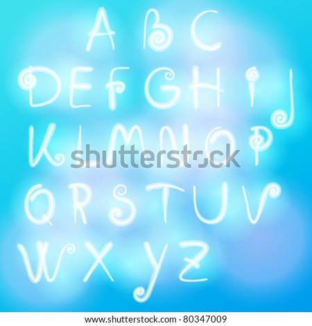 Vector set of alphabet made of clouds illustration - stock vector