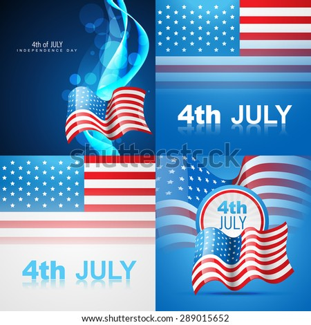 vector set of american flag design illustration of 4th july independence day with wave effect