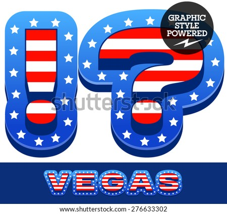 Vector set of american flag stripes and stars alphabet. Symbols