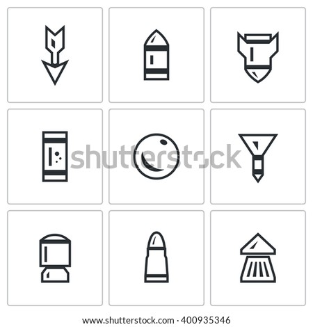 Vector Set of Ammunition Icons. Arrow, Bullet, Bomb, Shot, Core, Dart, Explosive Patron, Rrifle Cartridge, Pneumatic Chuck. Striking element of small arms. Isolated symbols on a white background - stock vector