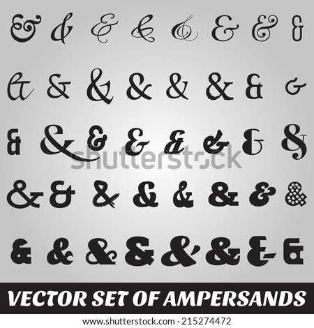 vector set of ampersands from different fonts - stock vector