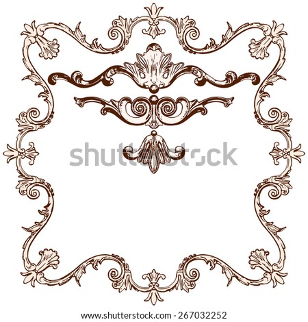 vector set of an ancient engraved  ornament on a white background - stock vector