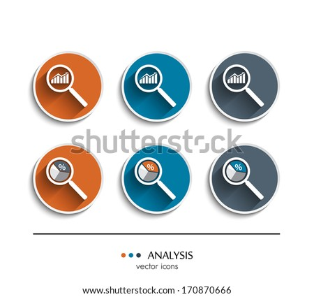Vector. Set of analysis icons. - stock vector