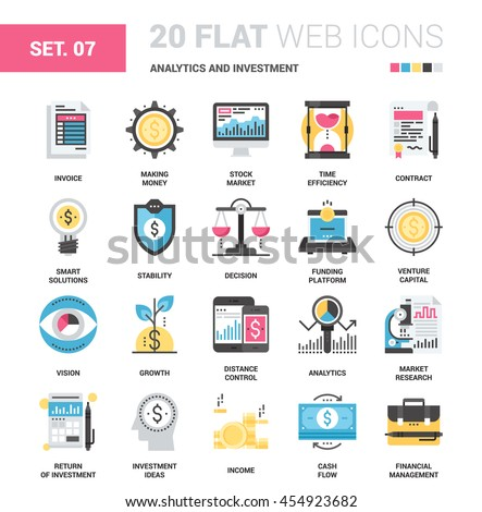 Vector set of analytics and investment flat web icons. Each icon with adjustable strokes neatly designed on pixel perfect 64X64 size grid. Fully editable and easy to use.
