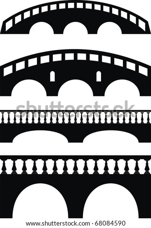 Vector set of ancient stone bridge black silhouettes - isolated illustration on white background - stock vector