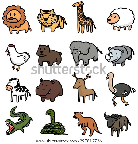 vector set of animal - stock vector