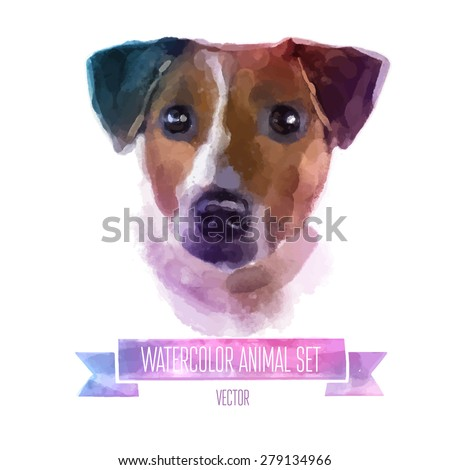 Vector set of animals. Jack russell hand painted watercolor illustration isolated on white background - stock vector