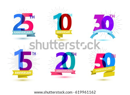 Vector set of anniversary numbers design. 25, 10, 30, 15, 20, 50 icons, compositions with ribbons. Colorful transparent with shadows on white background isolated. Anniversary logos, anniversary design