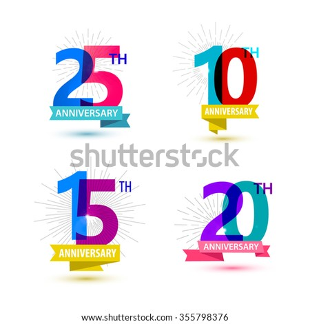 Vector set of anniversary numbers design. 25, 10, 15, 20 icons, compositions with ribbons. Colorful, transparent with shadows on white background isolated. Anniversary dates, anniversary numbers - stock vector