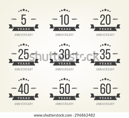 Vector set of anniversary signs, symbols. Five, ten, twenty, thirty, forty, fifty years jubilee design elements collection. - stock vector