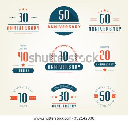 Vector Set Anniversary Signs Symbols Five Stock Vector 332142338