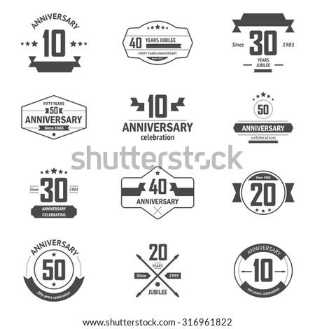 Vector Set Anniversary Signs Symbols Ten Stock Vector 316961822