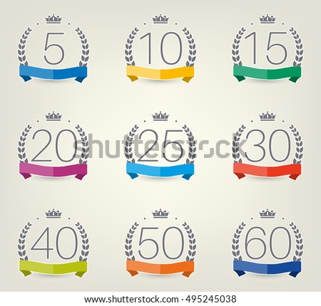 Vector Set Anniversary Symbols 5th 10th Stock Vector 495245038