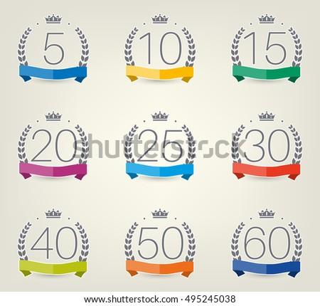 Vector Set Anniversary Symbols 5th 10th Stock Vector 495245038
