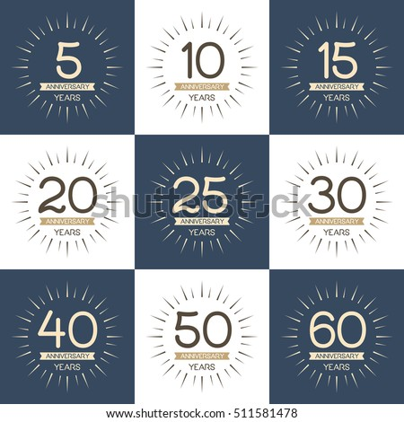 Vector Set Anniversary Symbols 5th 10th Stock Vector 511581478