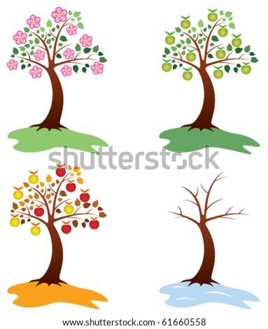 vector set of apple trees - stock vector