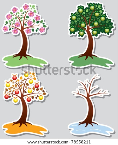 vector set of apple trees in four seasons - stock vector