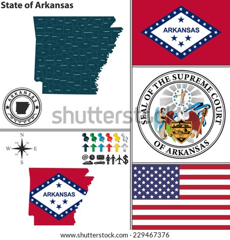 Vector set of Arkansas state with flag and icons on white background - stock vector