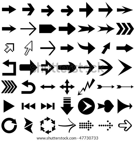 Vector set of arrow shapes  isolated on white. - stock vector