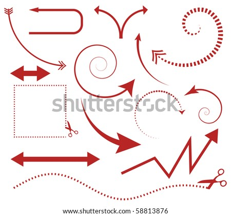 Vector set of arrows and scissors with cut lines - stock vector